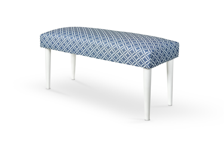 Banca tapitata cu stofa, cu picioare din lemn Makarena Blue / White, l80xA30xH40 cm somproduct.ro