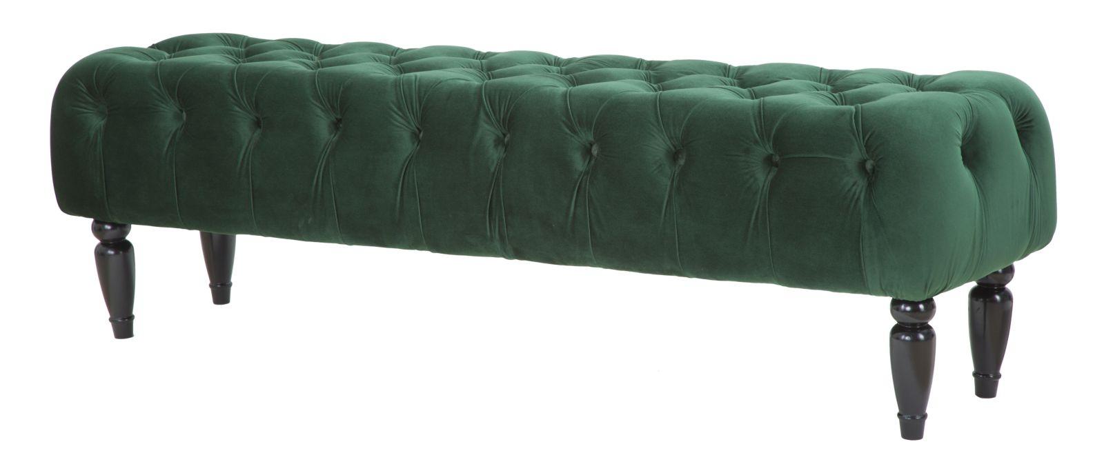 Banca tapitata cu stofa cu picioare din MDF Chantal Green l1495xA405xH43 cm