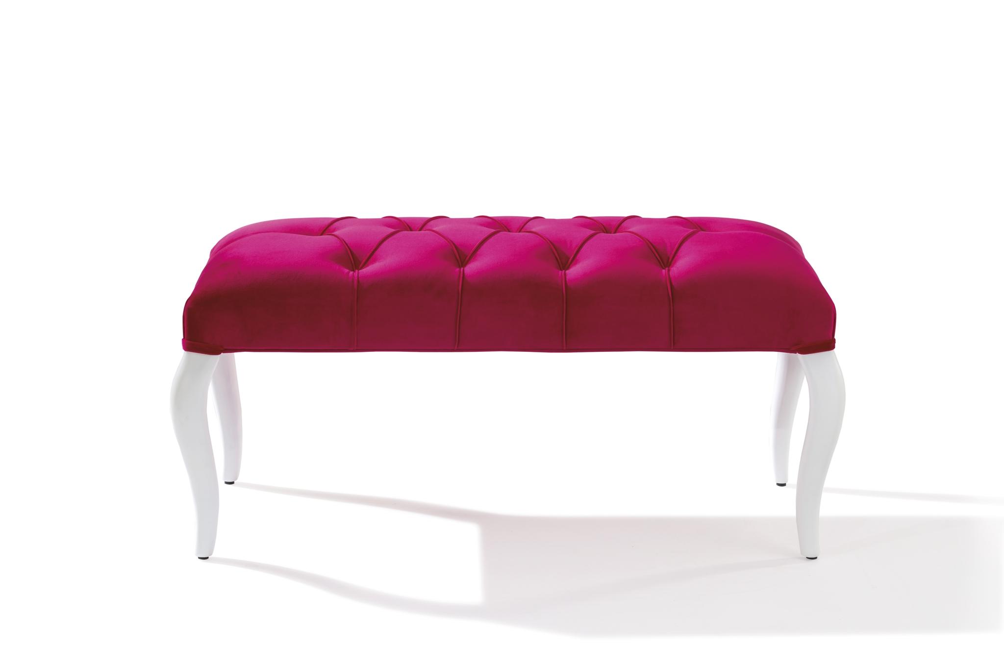 Banca tapitata cu stofa, cu picioare din lemn Rose Pink, l90xA44xH44 cm imagine