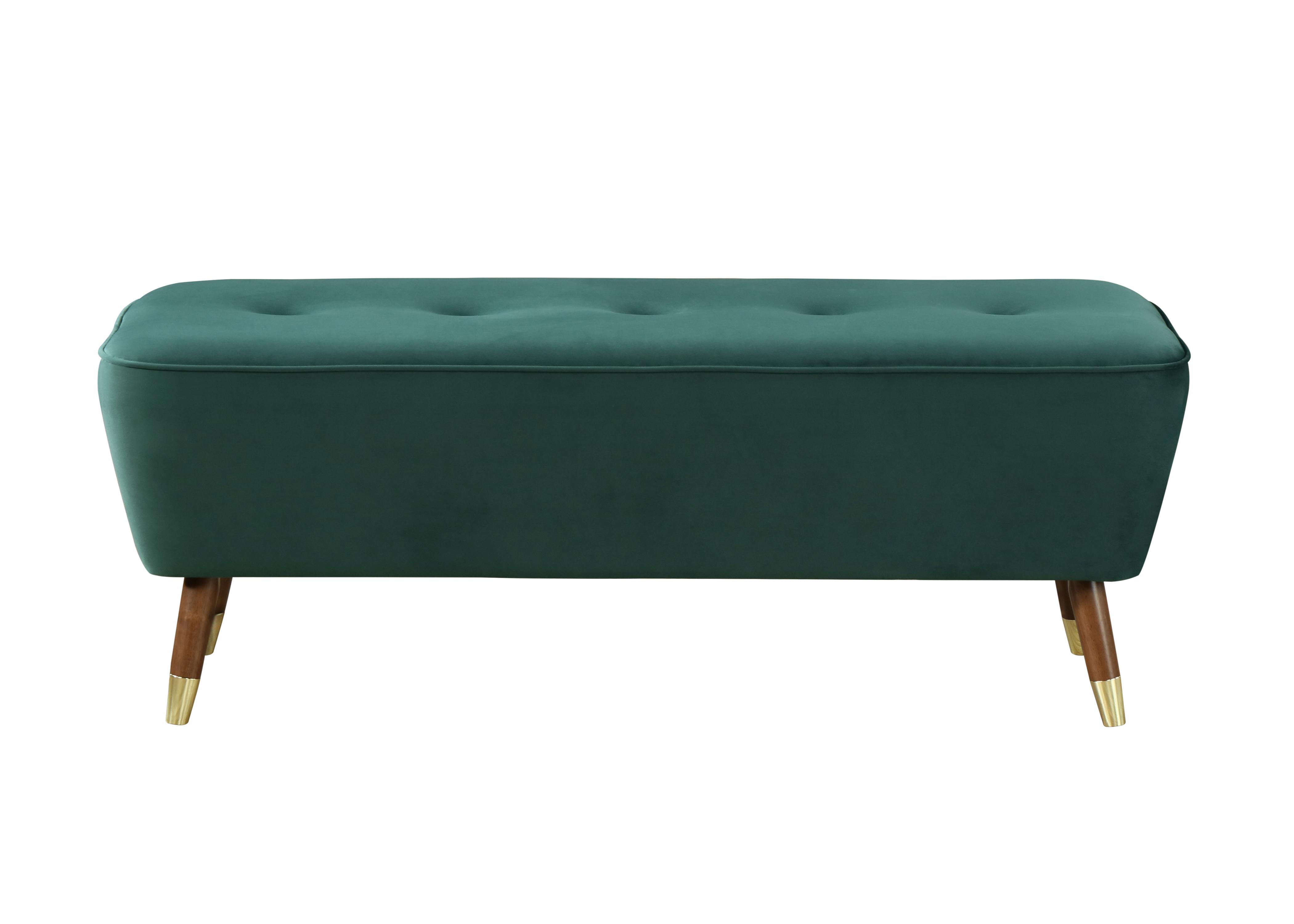 Banca tapitata cu stofa si picioare din lemn Palm Velvet Verde, l125xA47,5xH46,5 cm imagine