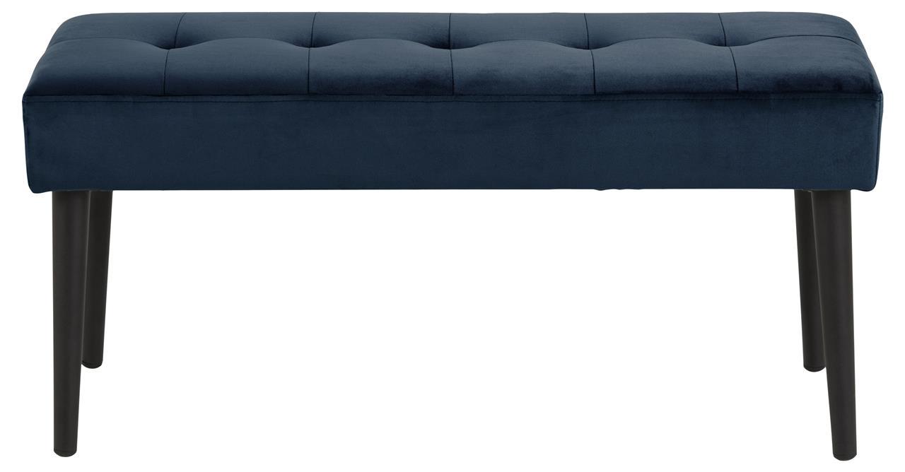 Banca tapitata cu stofa si picioare metalice Glory Velvet Albastru inchis / Negru, l95xA38xH45 cm imagine