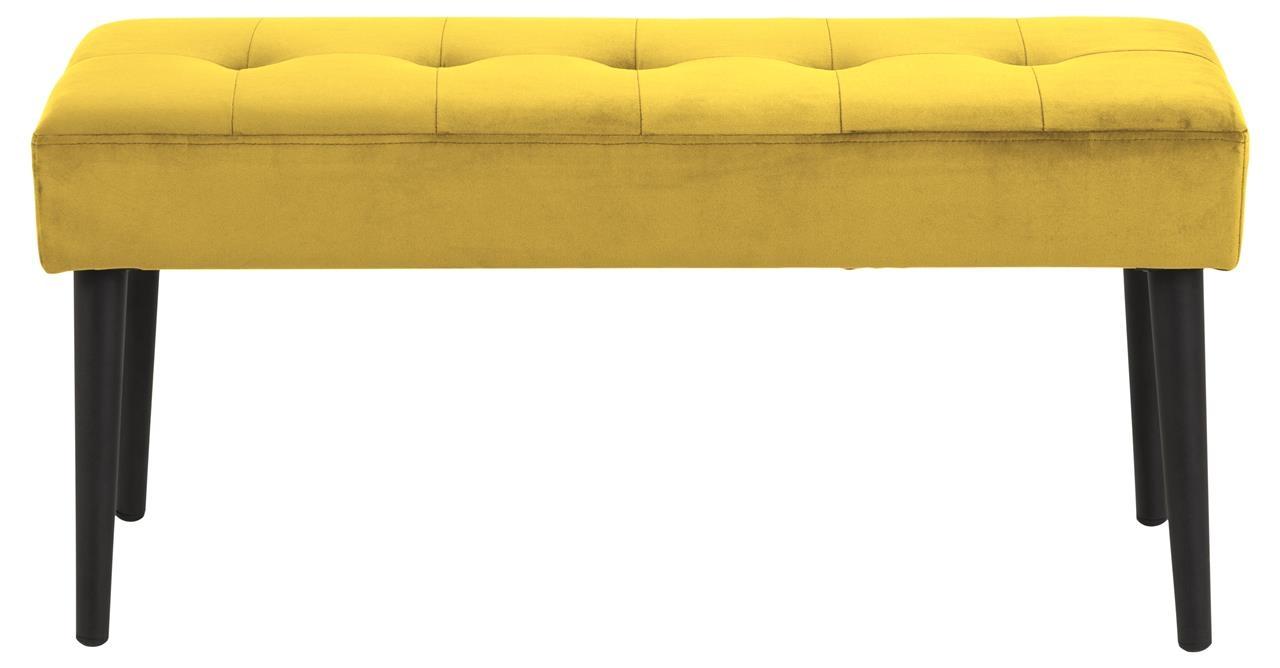 Banca tapitata cu stofa si picioare metalice Glory Velvet Galben / Negru, l95xA38xH45 cm imagine