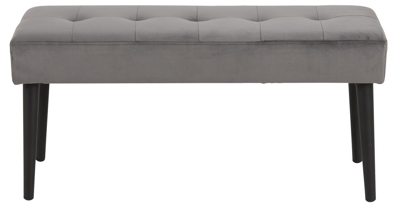 Banca tapitata cu stofa si picioare metalice Glory Velvet Gri Inchis / Negru, l95xA38xH45 cm imagine