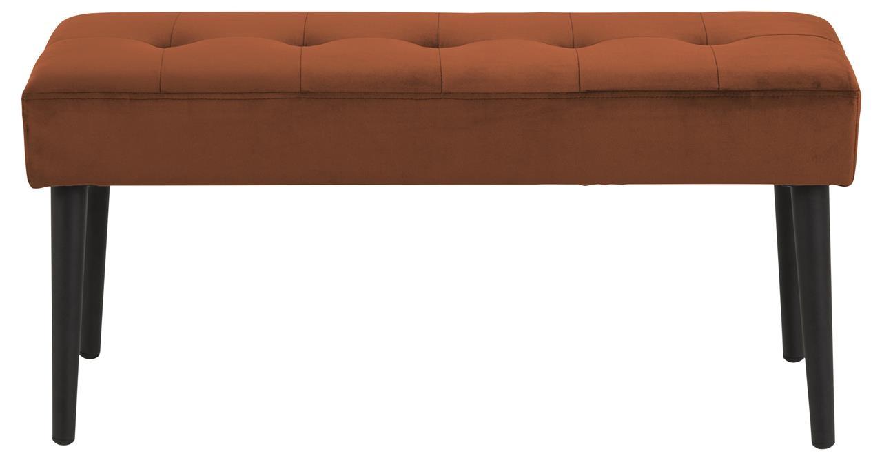 Banca tapitata cu stofa si picioare metalice Glory Velvet Maro / Negru, l95xA38xH45 cm imagine