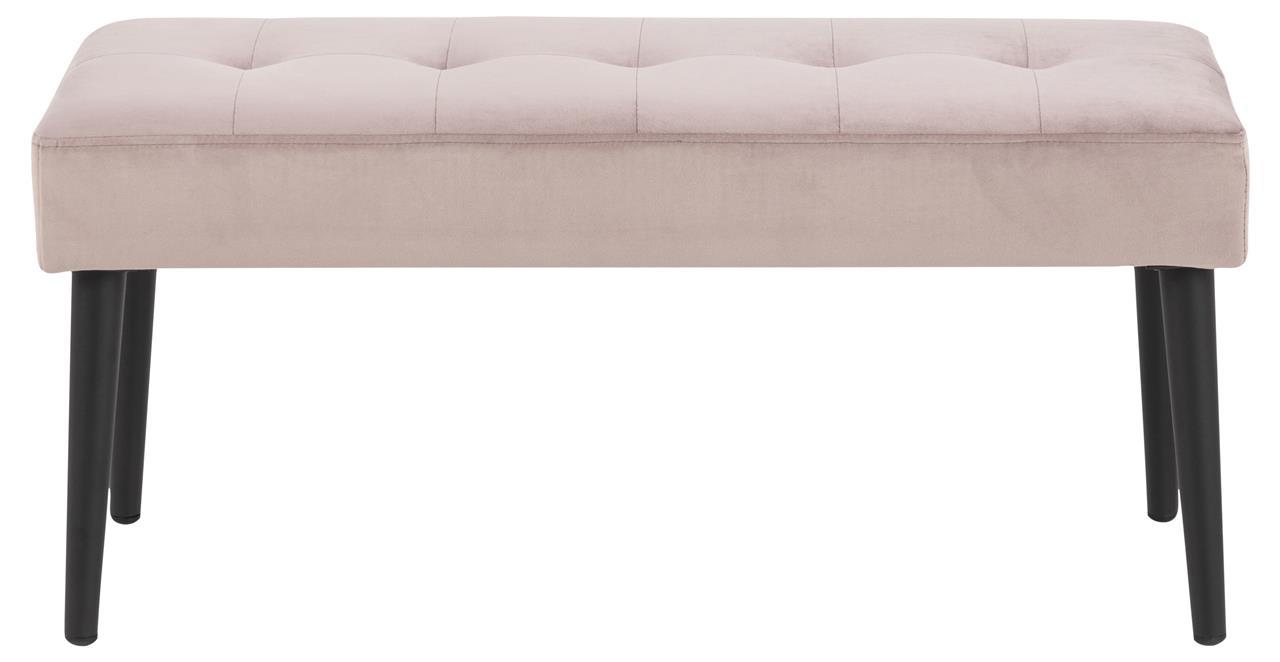 Banca tapitata cu stofa si picioare metalice Glory Velvet Roz Inchis / Negru, l95xA38xH45 cm imagine