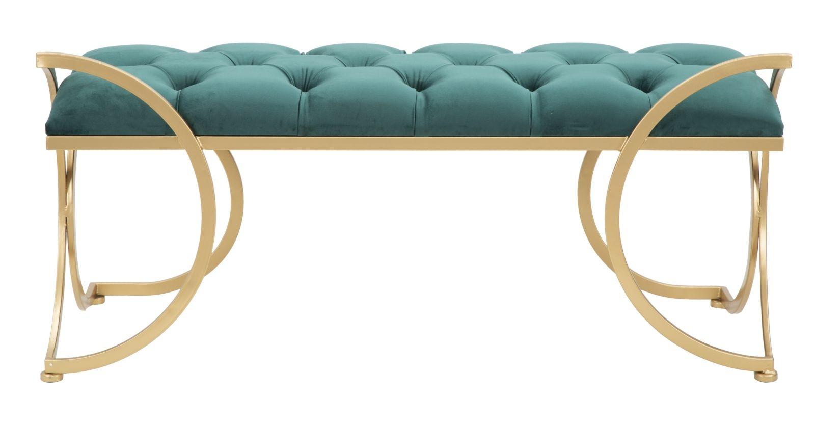 Banca tapitata cu stofa si picioare metalice Luxy Velvet Verde / Auriu, l103xA43xH47 cm imagine