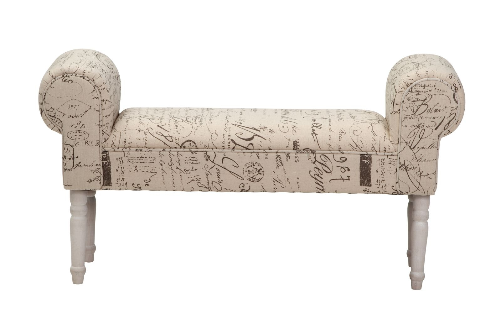 Banca tapitata cu stofa cu picioare din lemn de pin Handwriting l100xA30xH54 cm
