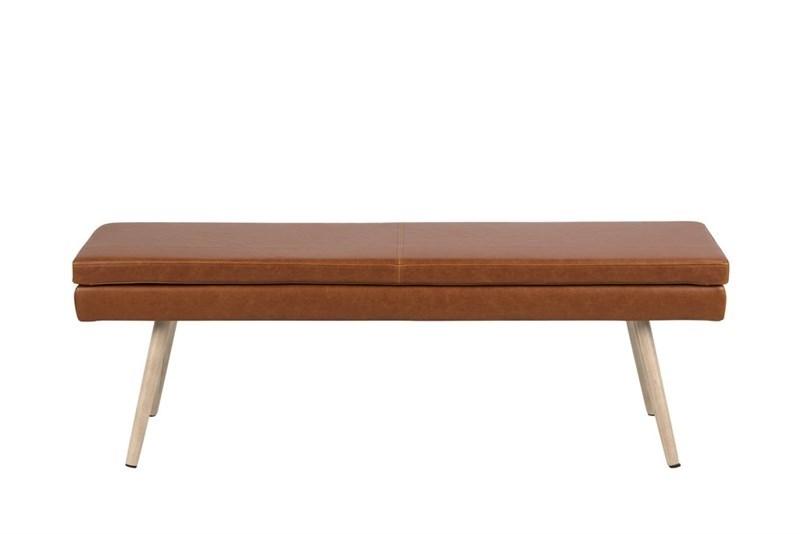 Banca tapitata cu piele ecologica cu picioare din lemn Nora Brown / Ivoir l140xA405xH475 cm