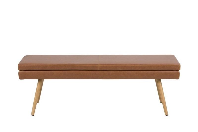 Banca tapitata cu piele ecologica cu picioare din lemn Nora Brown / Oak l140xA405xH475 cm