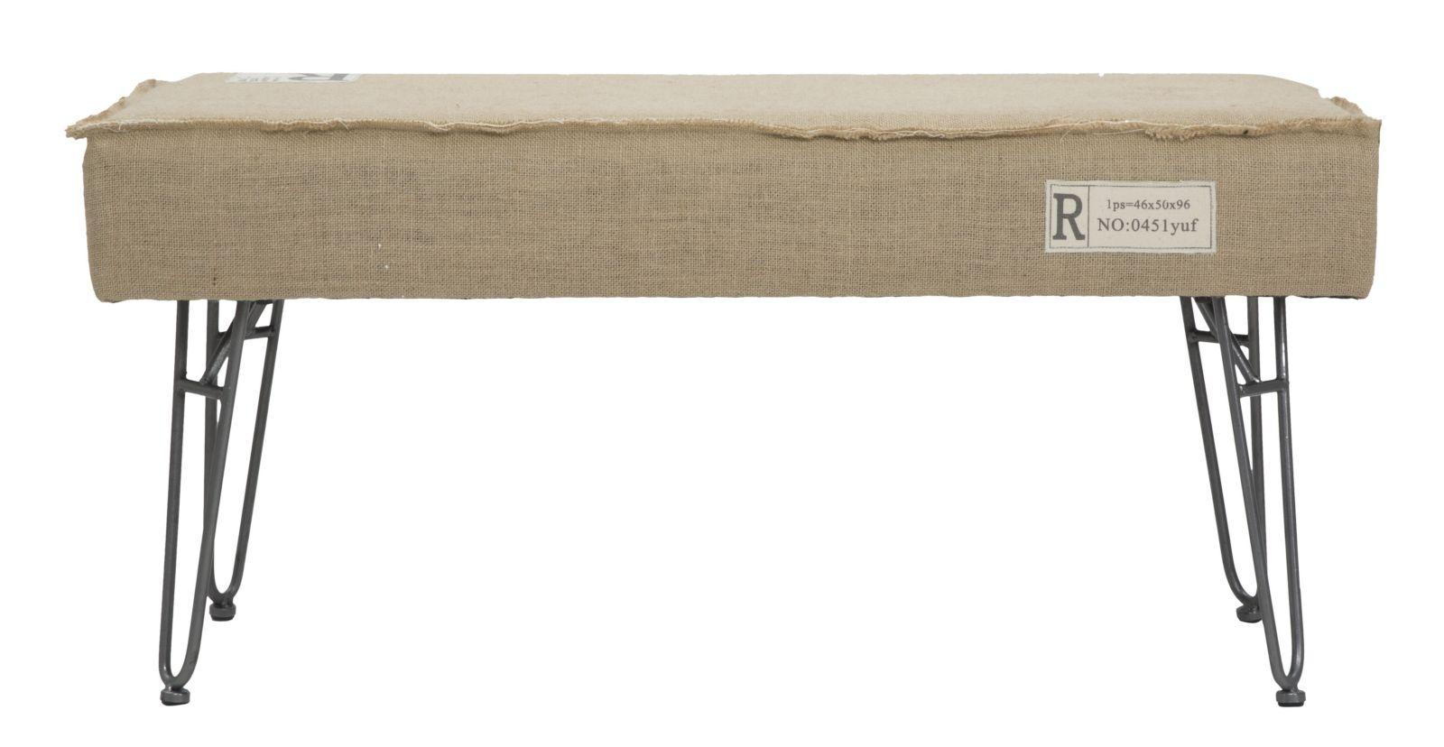 Banca tapitata cu stofa cu picioare din metal Havana Beige l92xA42xH43 cm