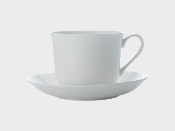 Set 4 Cesti cu farfurioare Cashmere Breakfast Cup Alb, Portelan, 480 ml
