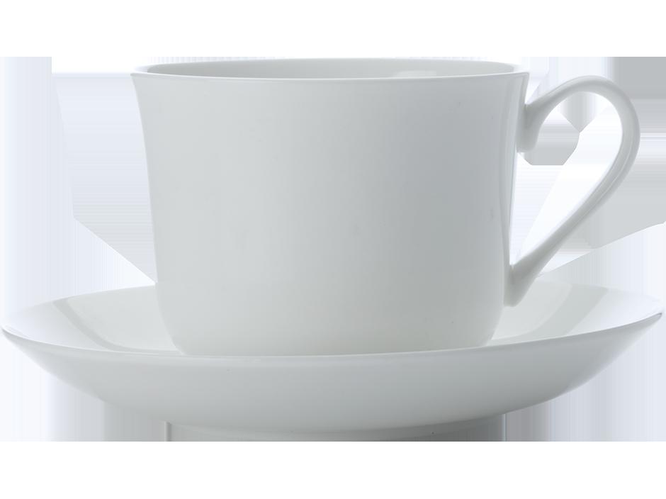 Set 4 Cesti cu farfurioare Cashmere Breakfast Cup Alb, Portelan, 480 ml pret reducere pareri