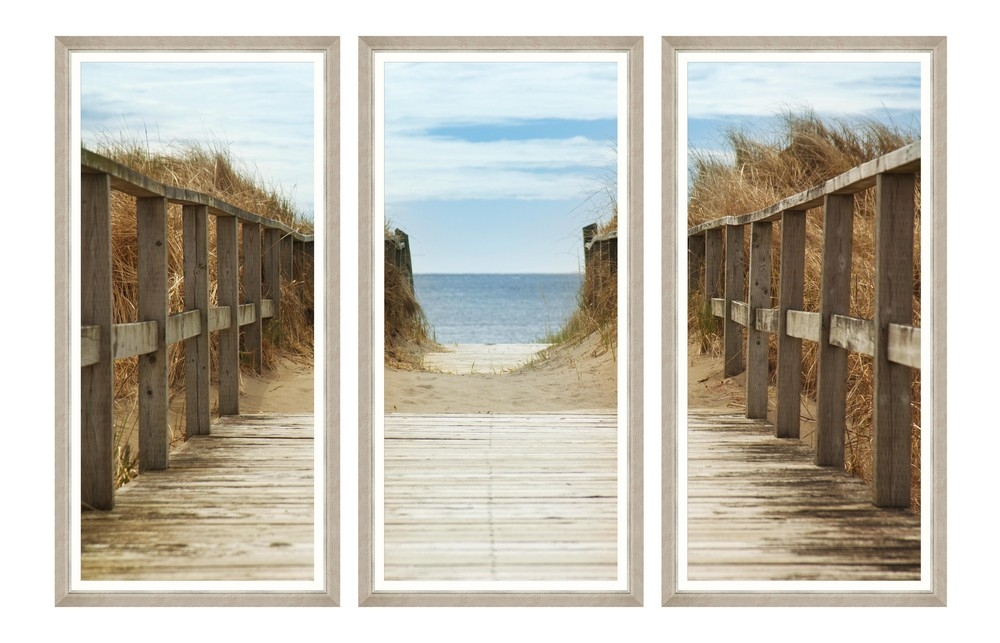 Tablou 3 piese Framed Art Beach Path imagine