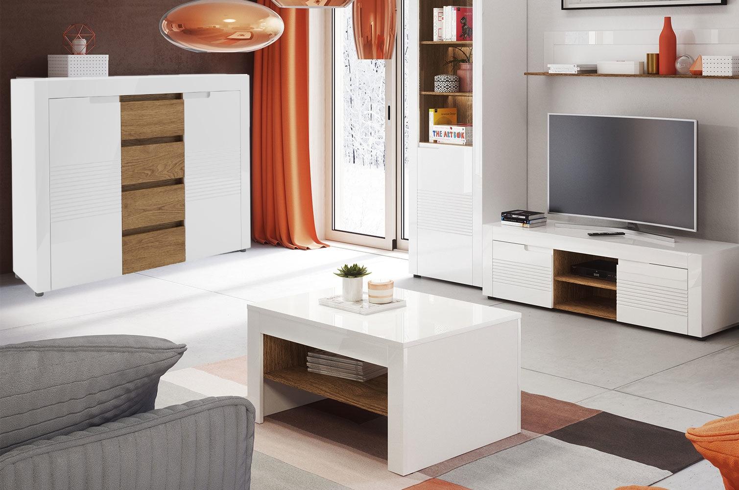 Set de mobila living din MDF 5 piese Belfort White