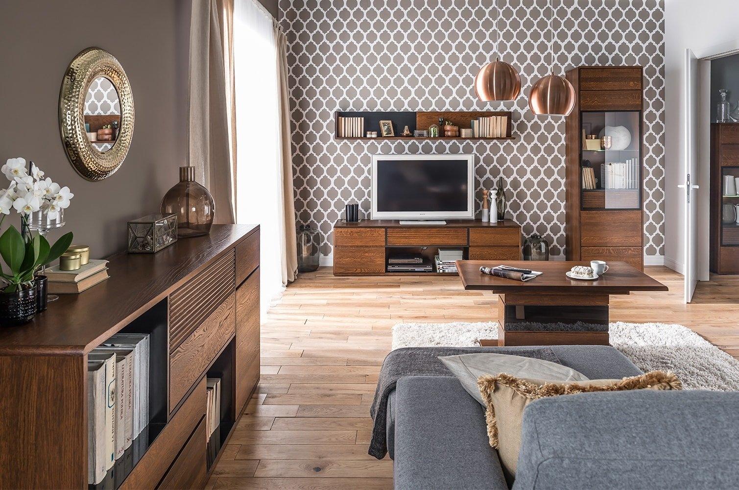 Set de mobila living din lemn si furnir 5 piese Bellis Oak