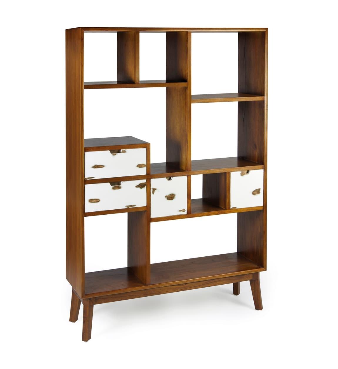 Biblioteca din lemn cu 4 sertare, Nordic Nuc / Alb, l120xA35xH180 cm somproduct.ro