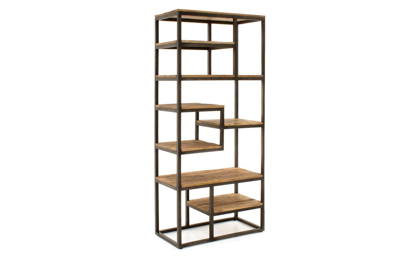 Biblioteca din lemn de mango si metal Savannah Slim Natural l80xA40xH180 cm