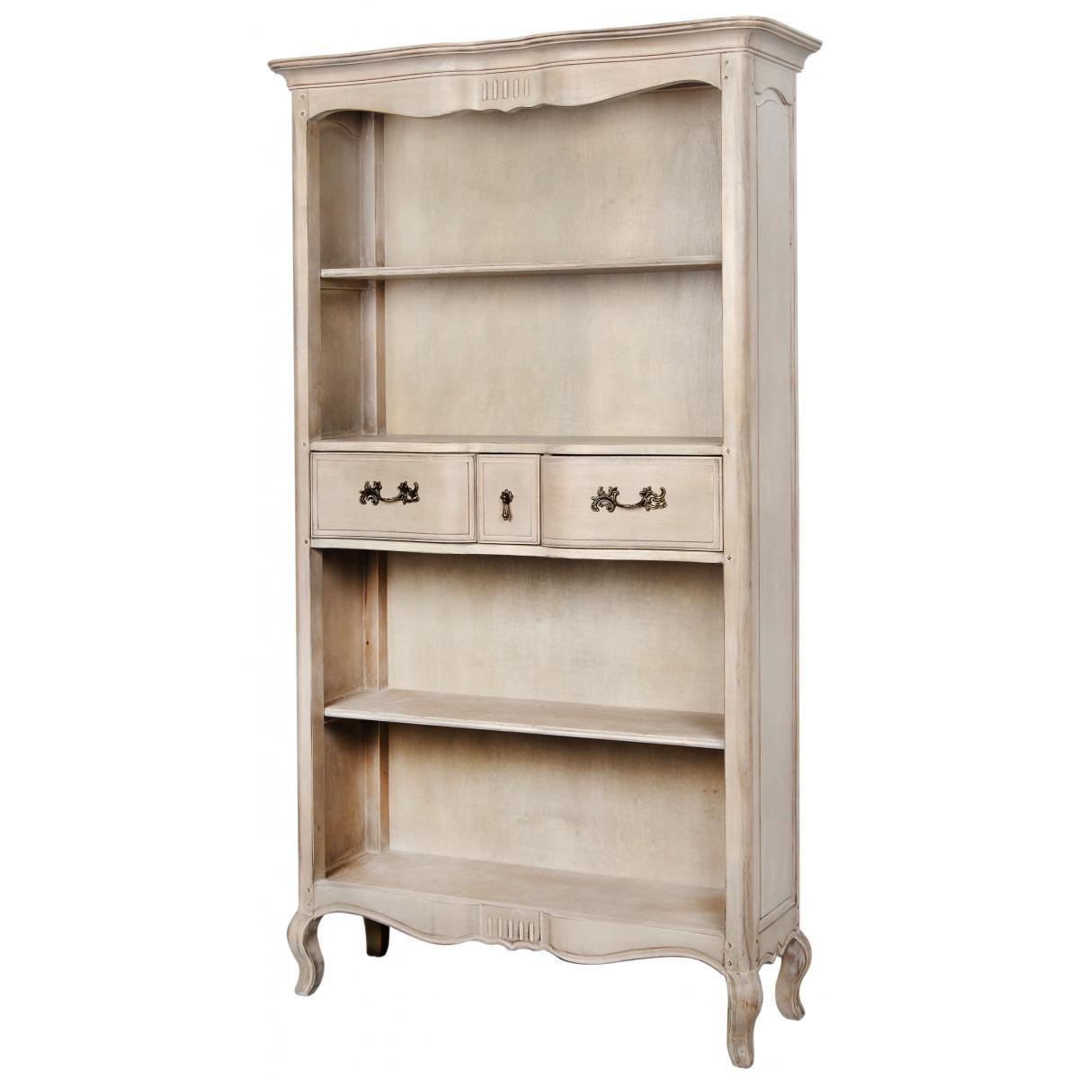 Biblioteca din lemn de mesteacan cu 3 sertare Venezia VE849K Beige, l112xA39xH195 cm imagine