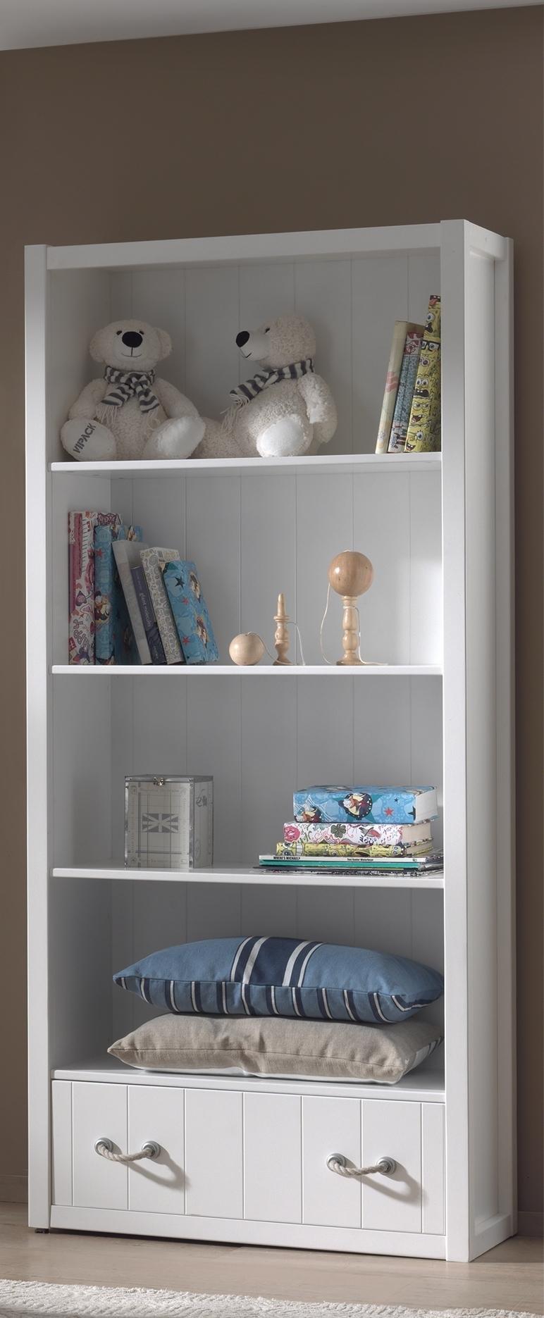 Biblioteca din lemn de pin si MDF cu 1 sertar, pentru copii Lewis Alb, l87xA40xH200 cm imagine