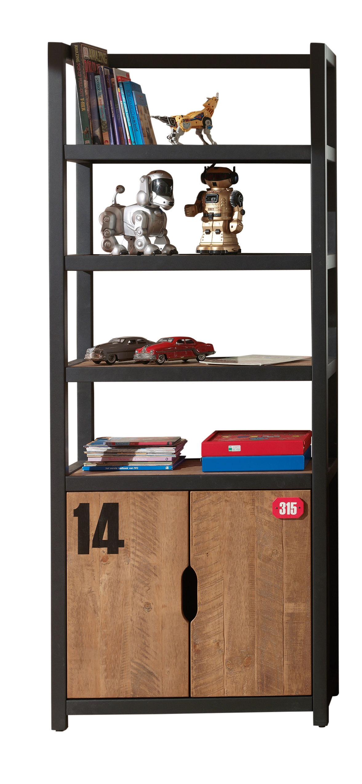 Biblioteca din lemn de pin si MDF cu 2 usi, pentru copii Alex Natural / Negru, l80xA40xH200 cm imagine