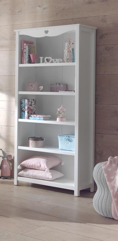 Biblioteca din lemn de pin si MDF, pentru copii Amori Alb, l90xA40xH190 cm imagine