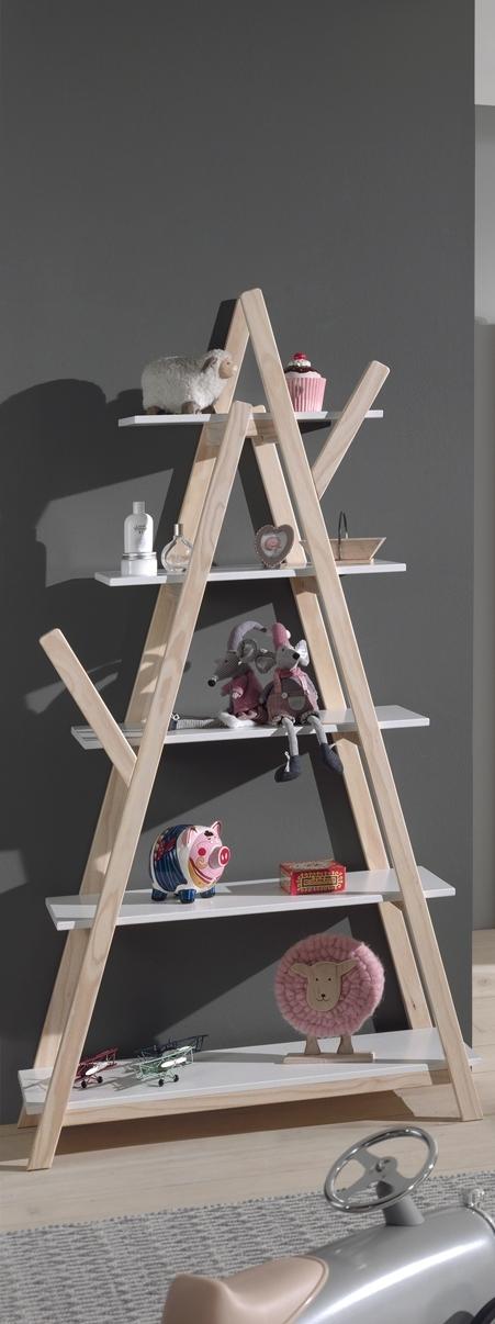 Biblioteca din lemn de pin si MDF, pentru copii Kiddy Alb, l90xA34xH170 cm