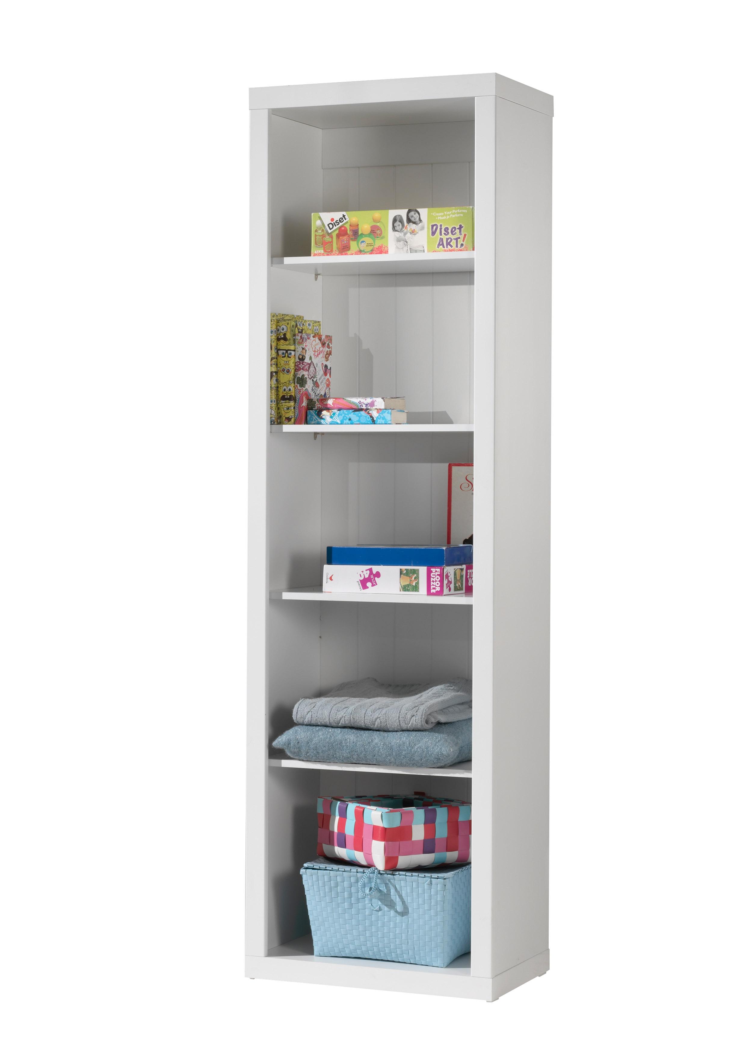 Biblioteca din lemn de pin si MDF pentru copii Robin Alb, l60xA40xH204,5 cm