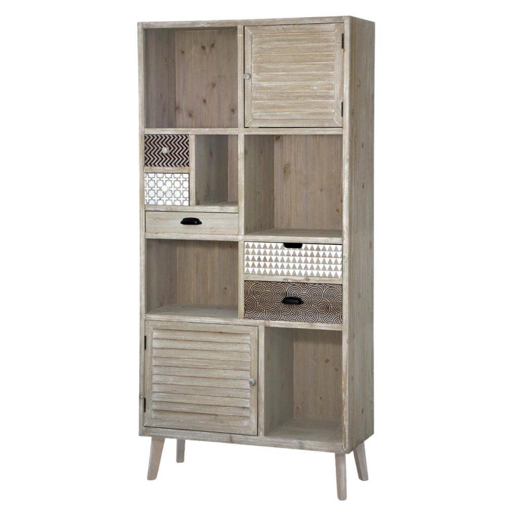 Biblioteca din lemn de plop si MDF, cu 5 sertare si 2 usi, Loano LO01 Light Brown, l90xA35xH187 cm imagine