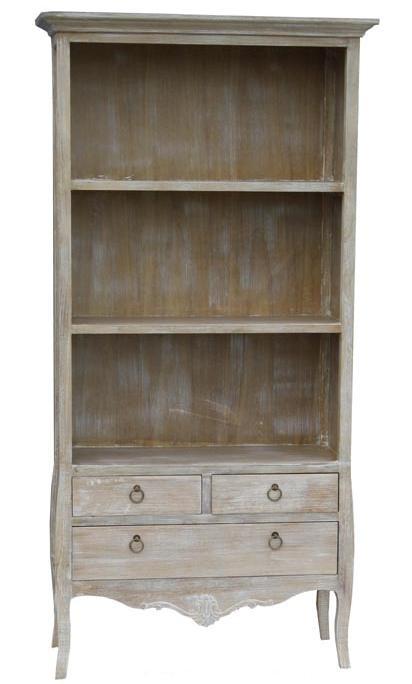 Biblioteca din lemn de plop, MDF si furnir, cu 3 sertare Merano ME02B Light Brown, l88xA34xH180 cm