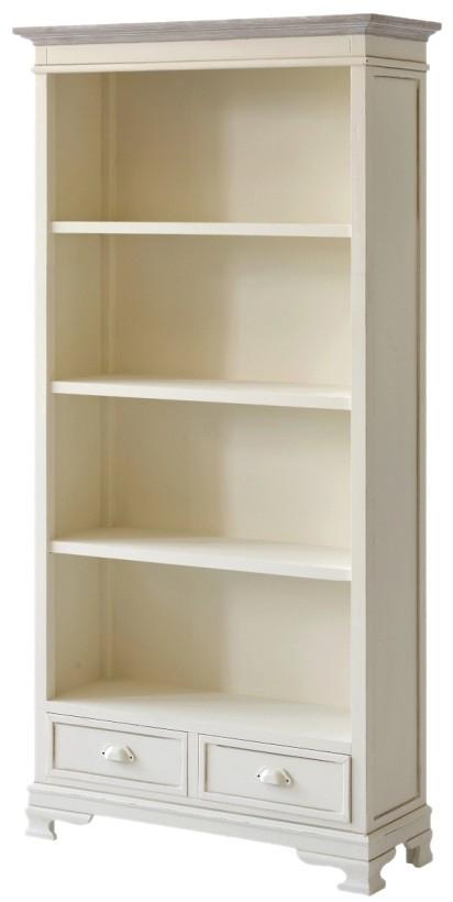 Biblioteca din lemn de plop si MDF, cu 2 sertare Pesaro PE02 Cream, l90xA33xH180 cm imagine
