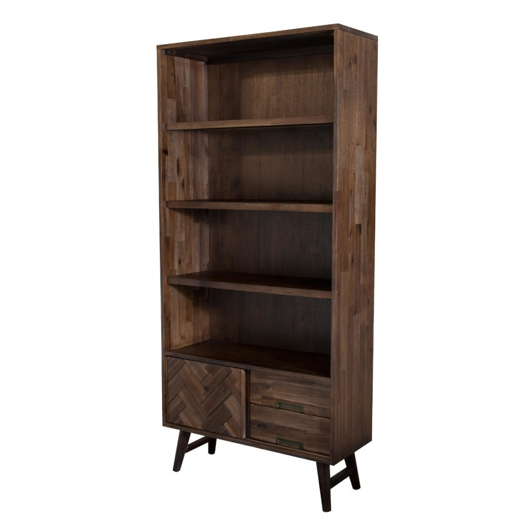 Biblioteca din lemn de salcam, cu 2 sertare si 1 usa Ashton L02 Brown, l90xA35xH195 cm imagine