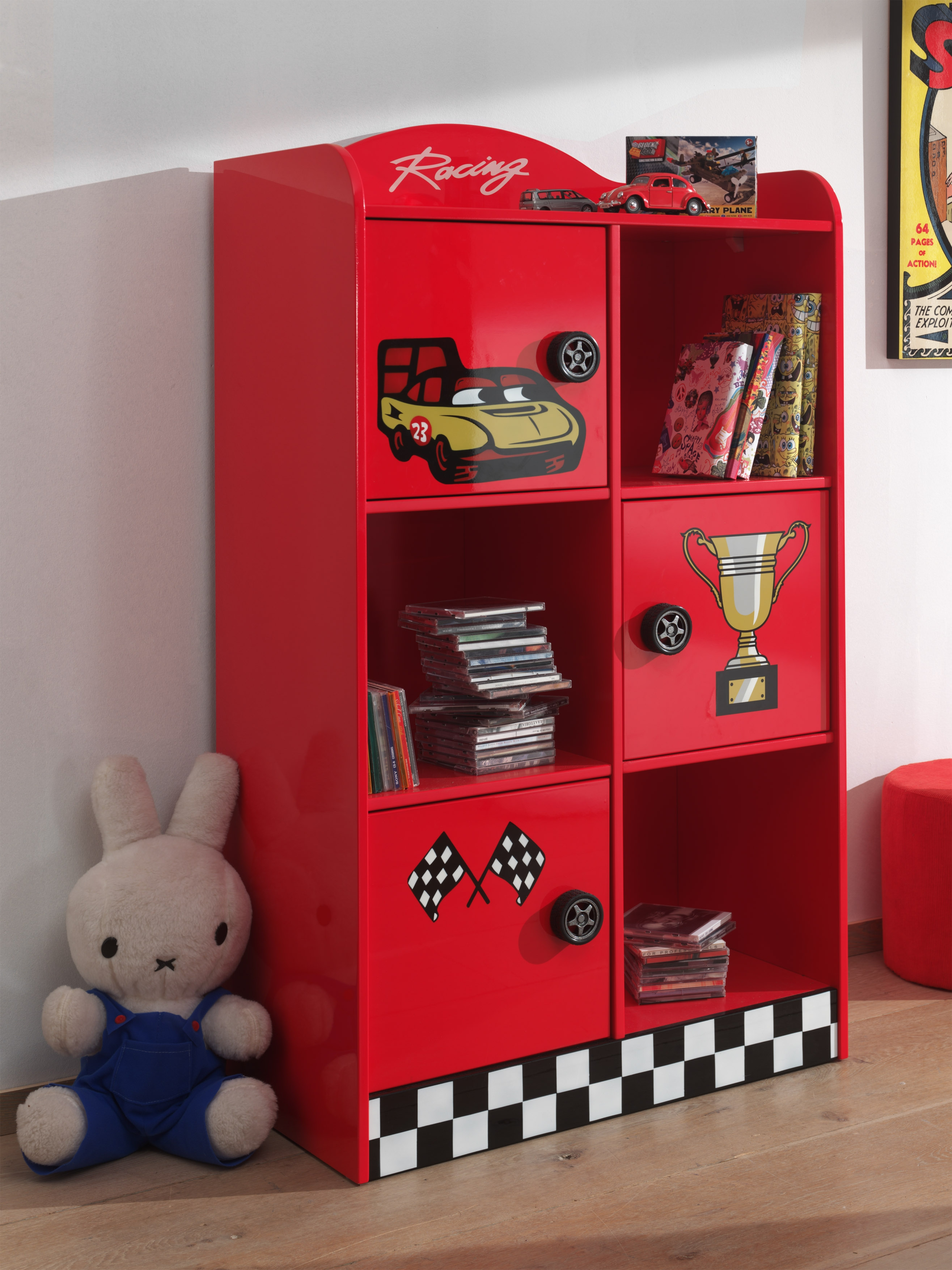 Biblioteca din MDF cu 3 usi, pentru copii Le Mans Rosu, l76xA42xH133,5 cm imagine