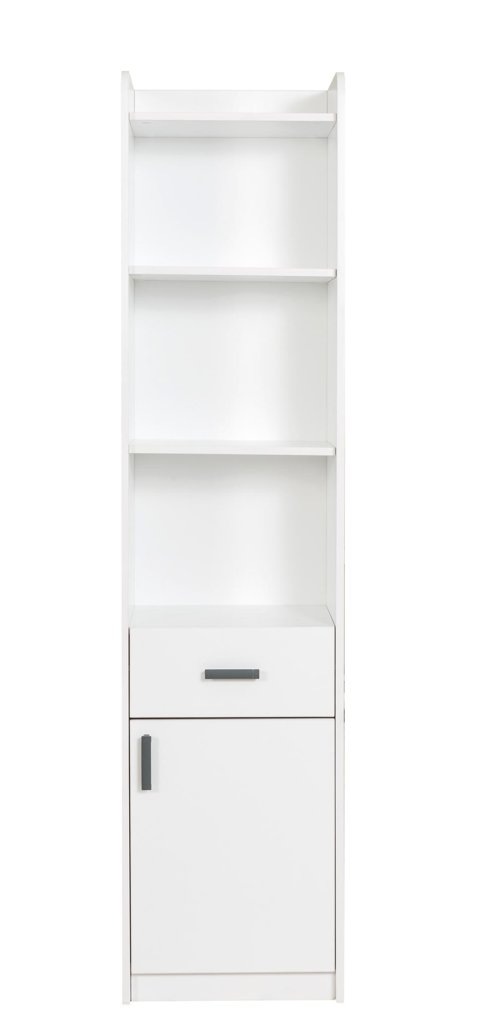 Biblioteca din pal cu 1 sertar si 1 usa pentru tineret White, l44xA36xH184 cm imagine