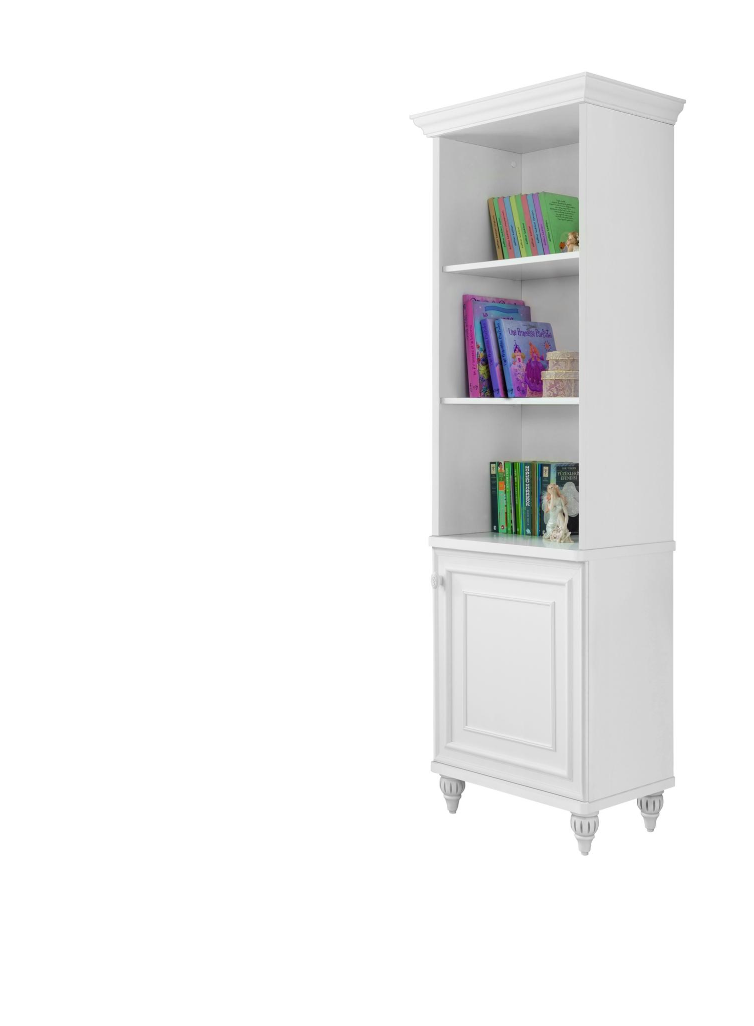 Biblioteca din pal cu 1 usa pentru copii si tineret Romantica White l52xA42xH185 cm