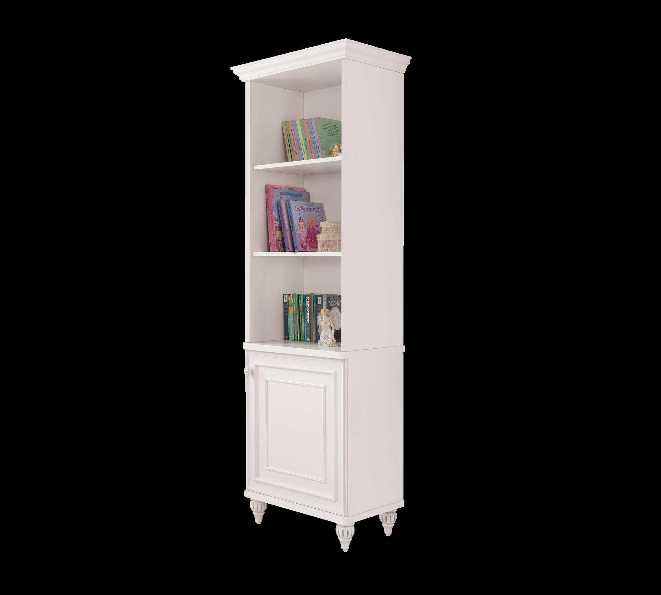 Biblioteca din pal cu 1 usa, pentru copii si tineret Romantica White, l52xA42xH185 cm somproduct.ro