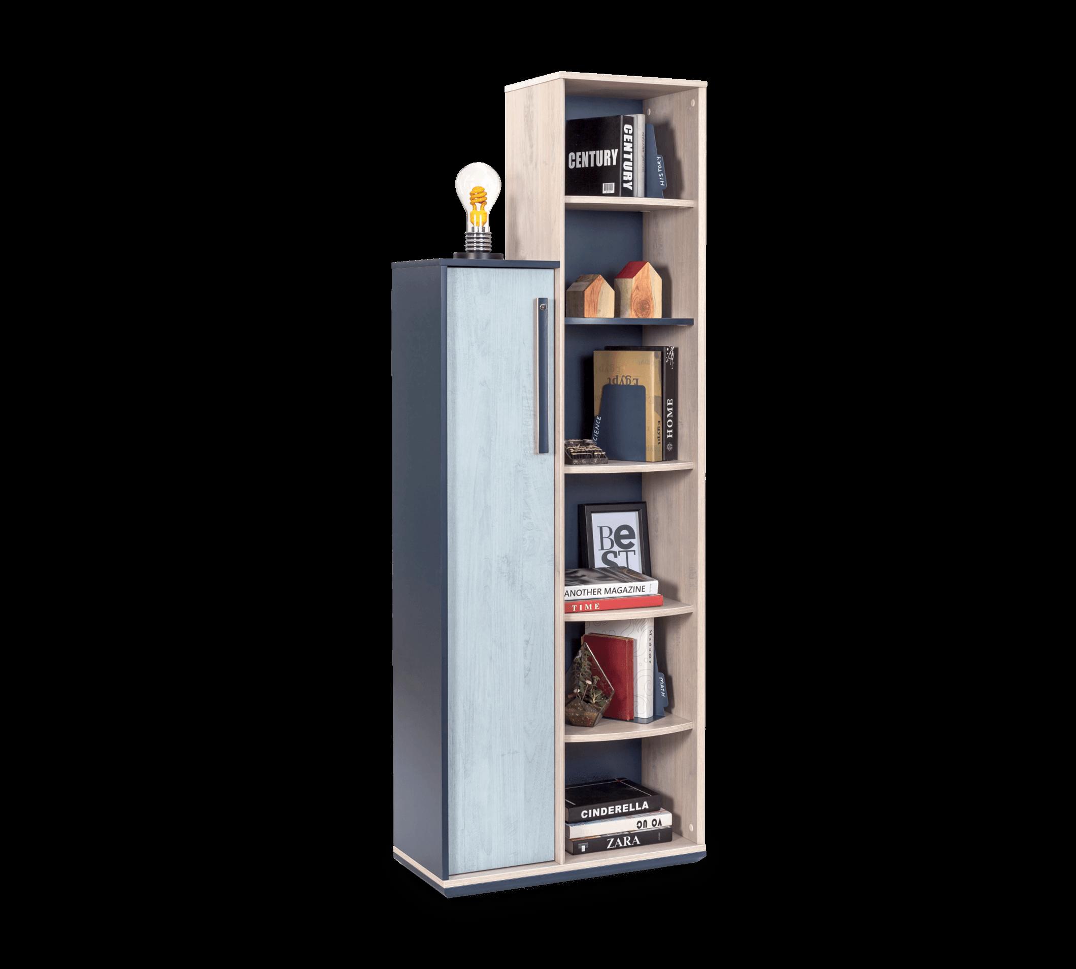 Biblioteca din pal cu 1 usa pentru tineret, baieti 12-24 ani, Trio Natur / Blue, l69xA32xH192 cm imagine
