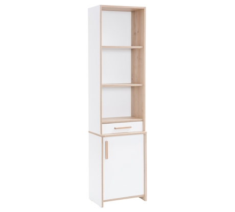 Biblioteca din pal cu 1 usa pentru tineret Dynamic White / Natur l46xA34xH181 cm