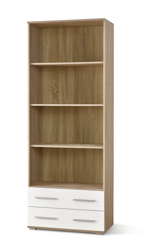 Biblioteca din pal cu 2 sertare Lima REG-3 Alb / Stejar Sonoma, l77xA40xH200 cm imagine