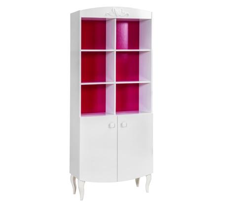 Biblioteca din pal cu 2 usi, pentru fete si tineret Yakut White / Dark Pink, l77xA33xH179 cm imagine