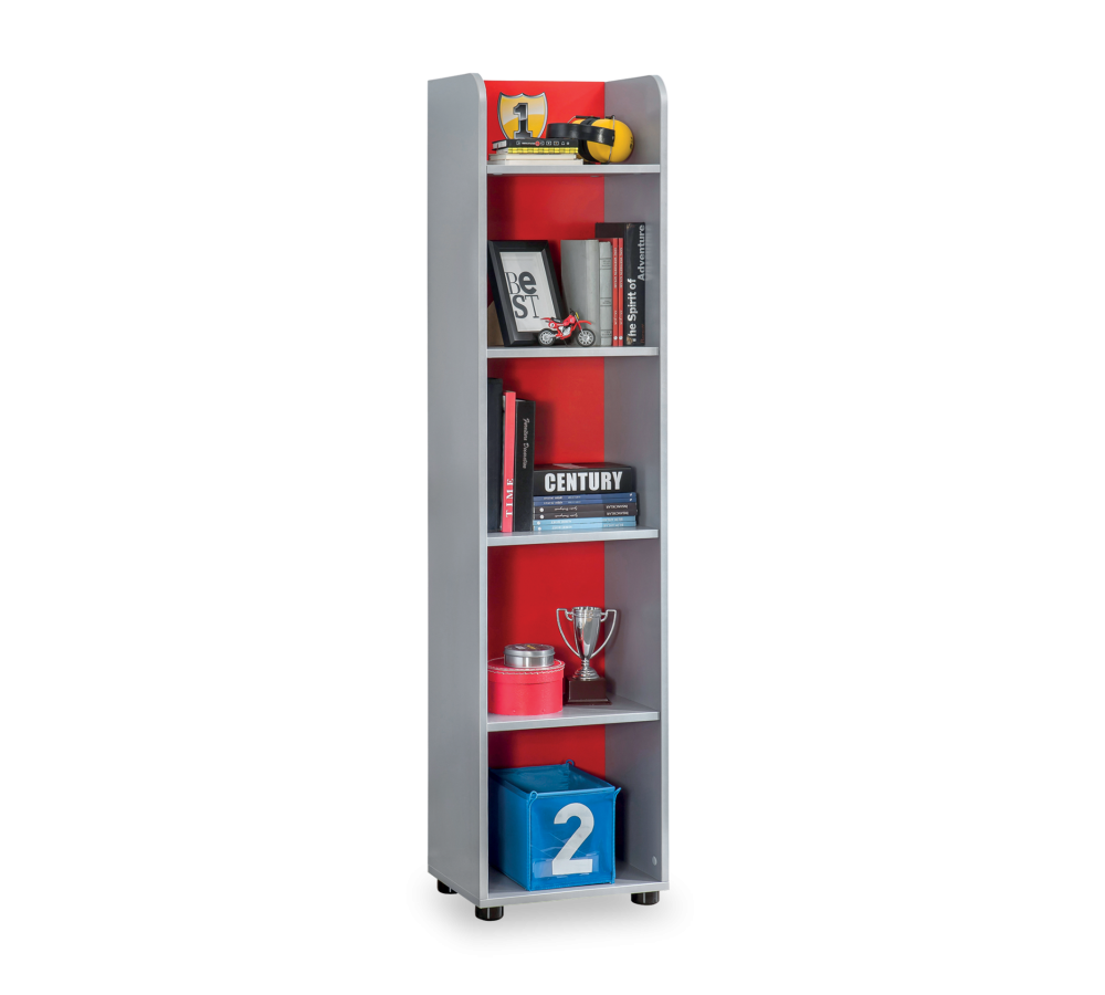 Biblioteca din pal, pentru copii Racer Cup Red / Light Blue, l39xA32xH160 cm imagine