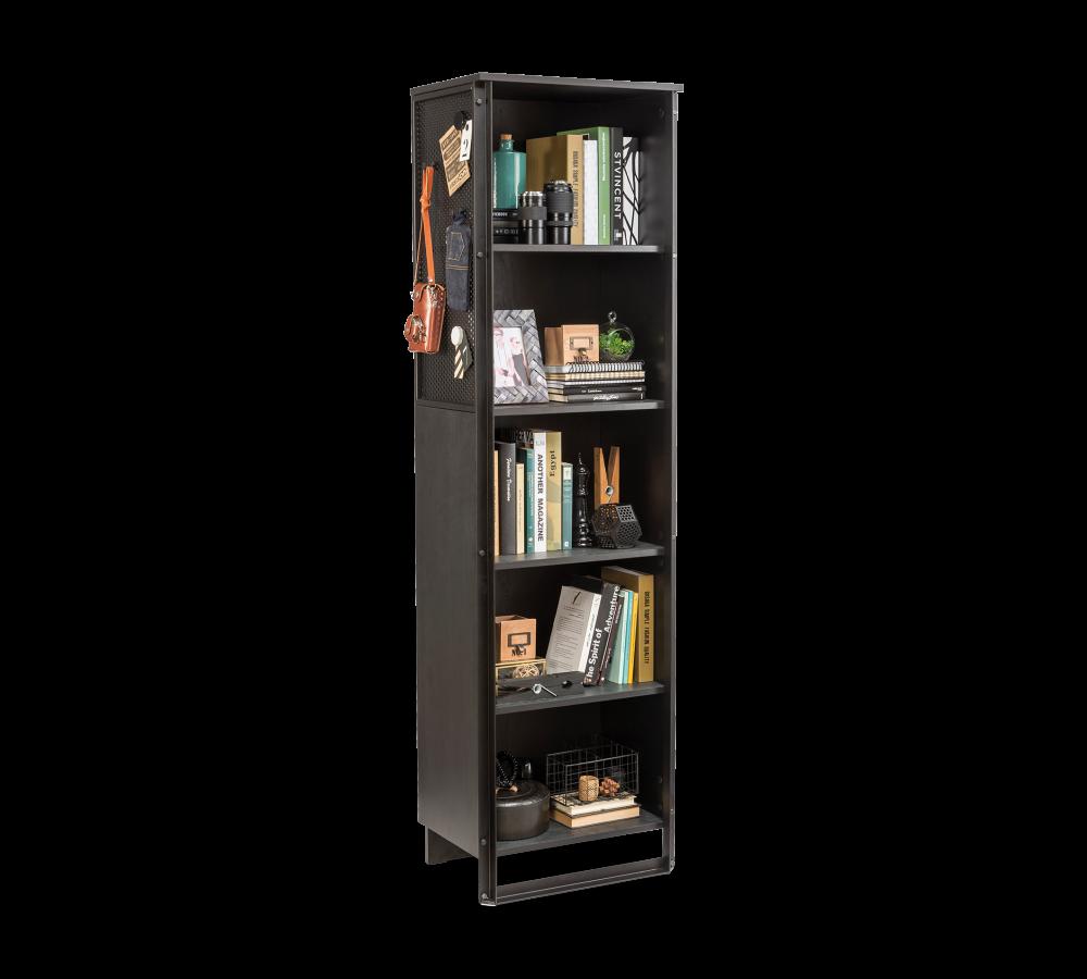Biblioteca din pal si metal pentru tineret Dark Metal Black / Graphite l51xA36xH181 cm
