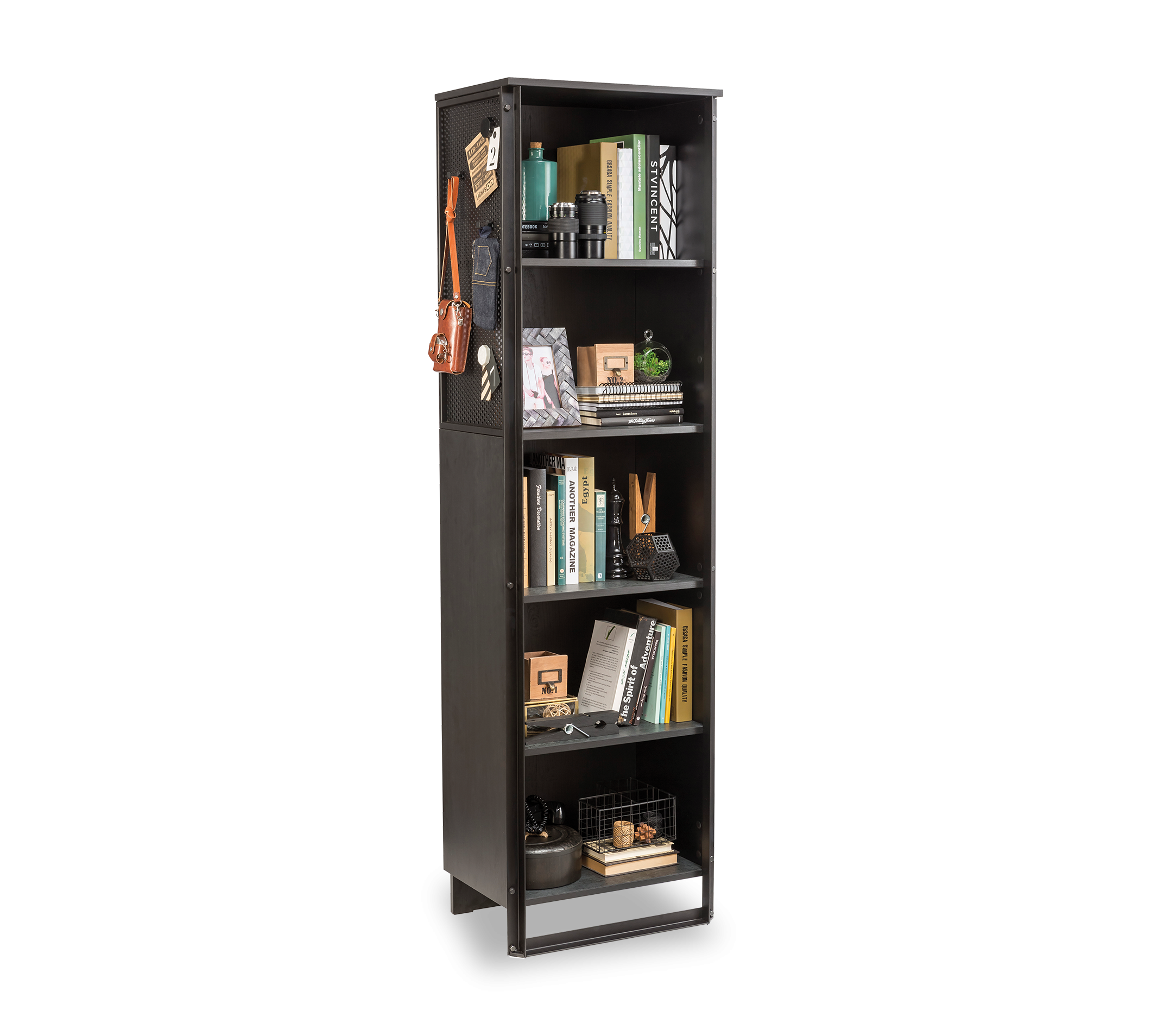 Biblioteca din pal si metal pentru tineret Dark Metal New Black / Graphite, l53xA35xH180 cm imagine