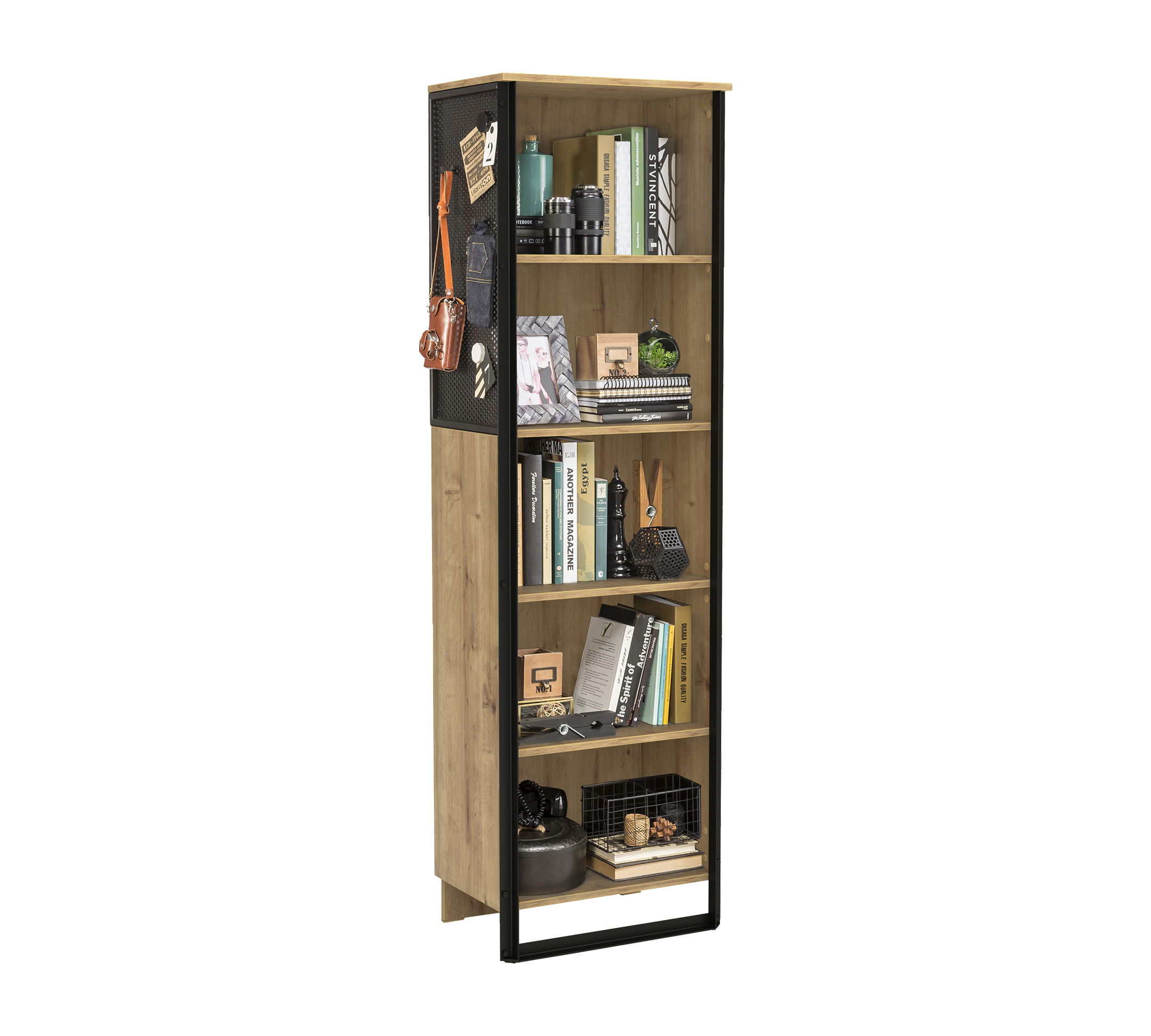 Biblioteca din pal si metal pentru tineret Wood Metal Natural / Negru, l53xA35xH180 cm imagine