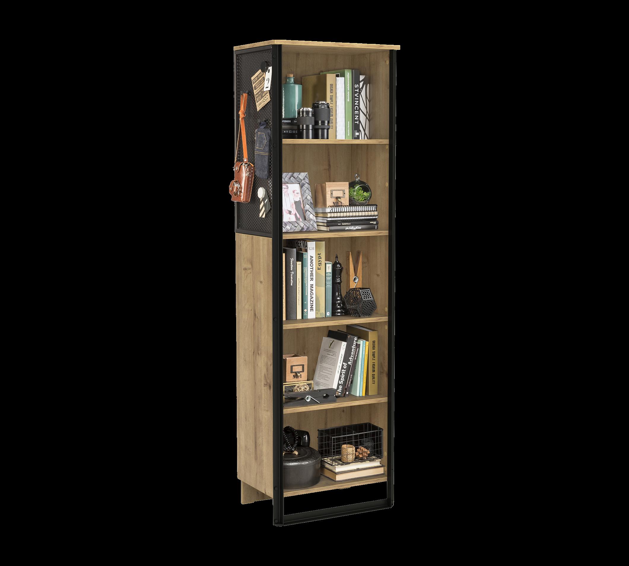 Biblioteca din pal si metal pentru tineret Wood Metal Natural / Negru, l53xA35xH180 cm