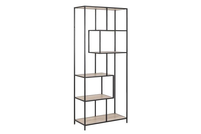 Biblioteca din pal si metal Seaford III Stejar Sonoma / Negru, l77xA35xH185 cm somproduct.ro