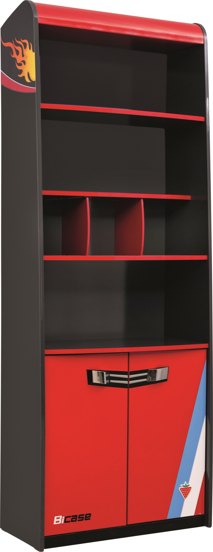 Biblioteca din pal cu 2 usi, pentru copii Champion Racer Red / Grey, l70xA35xH187 cm somproduct.ro