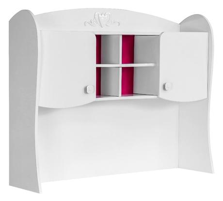 Biblioteca Suspendata din pal cu 2 usi pentru fete si tineret Yakut White / Dark Pink l122xA33xH97 cm
