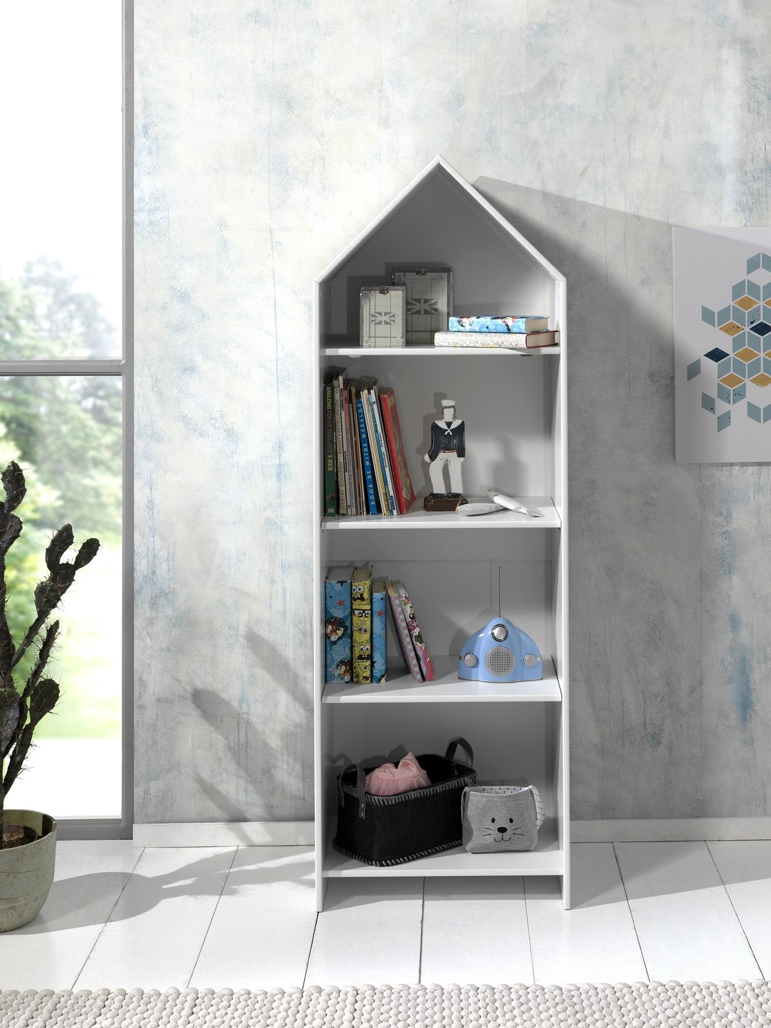 Biblioteca tip casuta din MDF, pentru copii Casami Alb, l57,6xA37xH171,3 cm imagine