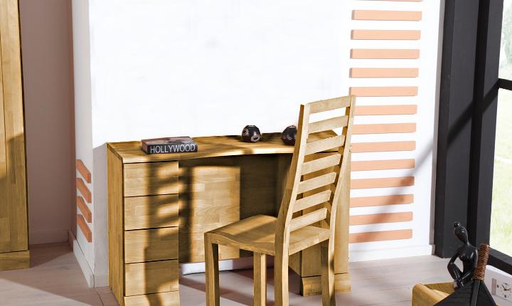 Masa de birou din lemn masiv de stejar Seti, L115xl45xh75 cm