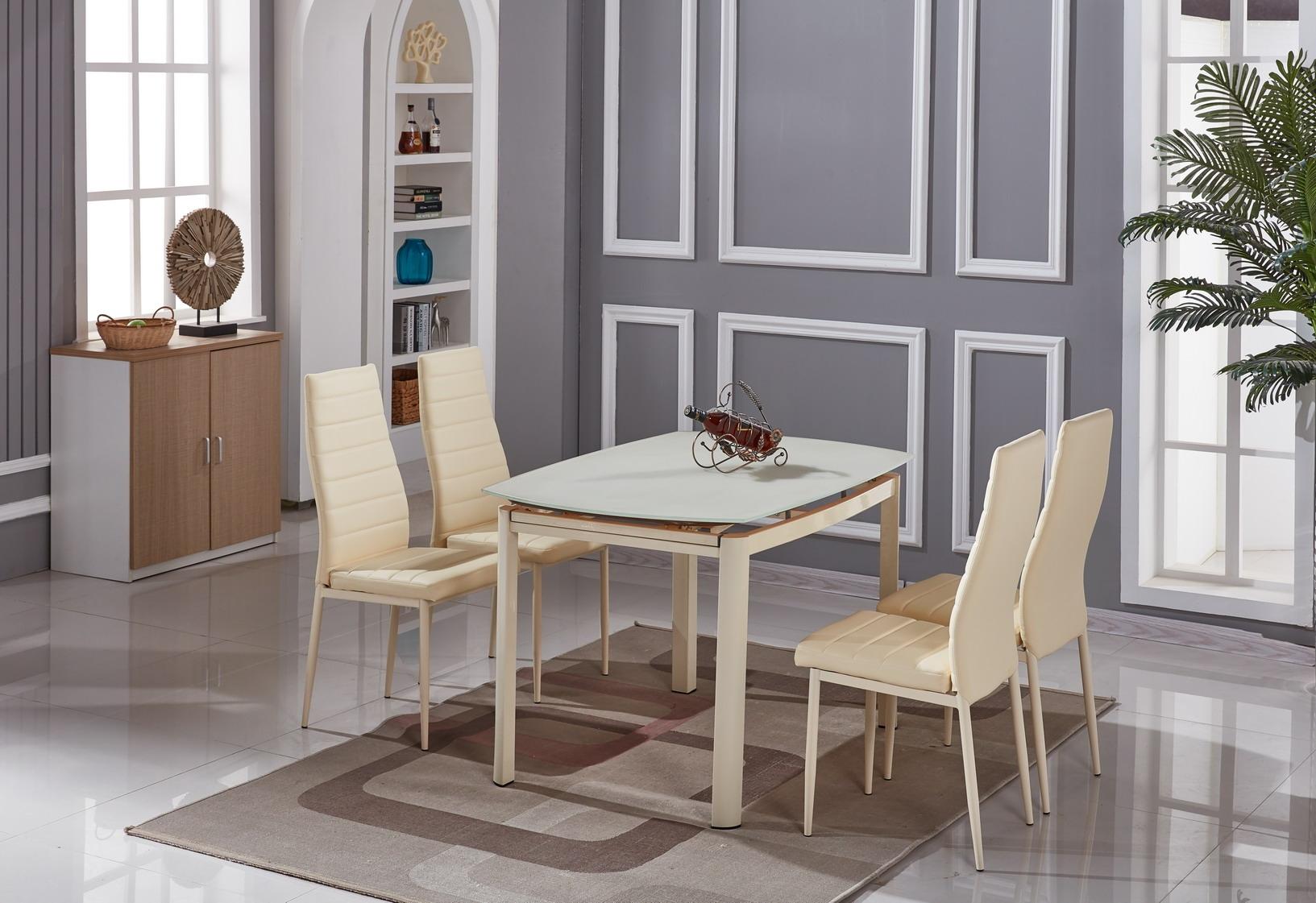 Set masa extensibila din sticla si metal Kale Cream + 4 scaune Issay Cream L120-180xl80xH76 cm